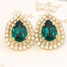 Emerald Swarovski Pear Stud  Earrings By Ilona Rubin   #emerald, #earrings, #jewelry, #bridal, #wedding, #Christmasgift