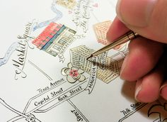 Illustrated wedding maps are a wonderful way to add personality to a suite -- but more importantly, they're fun to create!