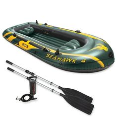 Intex Sehawk 4 Person Inflatable Boat W/ Paddles and Pump, Coast Guard Approved