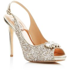 Badgley Mischka Adore Glitter Slingback High Heel Pumps ($170) ❤ liked on Polyvore featuring shoes, pumps, platino, peeptoe pumps, sparkly pumps, glitter pumps, leather peep toe pumps and metallic pumps