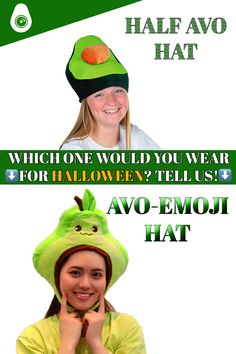 """Looking for a thing to put in your head? Check out these halloween avocado hats then! Tell us which one you prefer! Is it the """"HALF"""" or the """"EMOJI"""" one? You can find these two hats on our large range of avocado halloween costumes! Frankenstein, Avocado Costume, Halloween Hats, A Funny, Emoji, Range, Check, Avocado, Cookers"""