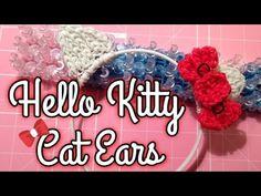 Rainbow Loom Hello Kitty Cat Ears Hair Head Band Halloween Costume Bow C. Rainbow Loom Characters, Rainbow Loom Patterns, Loom Craft, Ear Hair, Indie Girl, Head Bands, Cowls, Cat Ears, Cool Kids