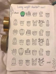 Found on a Bullet Journal FB Group - Bullet Journal Layout, Bullet Journal Inspiration, Bullet Journals, Journal Ideas, Banners, Cactus Doodle, Origami, Doodles, Doodle Lettering