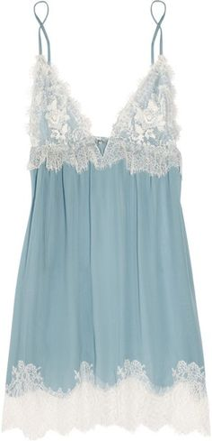 """(Jenny Packham Chantilly Lace and Silk-chiffon Chemise in Blue) """"Something blue"""" lingerie. Belle Lingerie, Lingerie Azul, Sexy Lingerie, Lingerie Babydoll, Lingerie Outfits, Pretty Lingerie, Bridal Lingerie, Beautiful Lingerie, Lingerie Silk"""