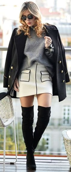 Black Military Coat, Grey Oversized Sweater Black and White Skirt, Black Suede OTKB   Ma Petite By Ana #black
