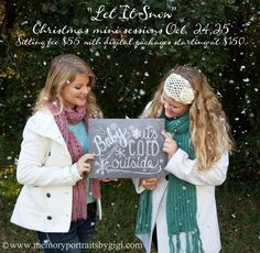 3- days left for current clients to sign up for our 'Let it Snow' mini photo session! Message me today for details!