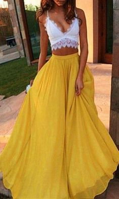 2 pieces Prom Dress,Yellow Prom Dresses,Long Evening Dresses,A Line Prom Dresses,White Evening Dress,Sexy Prom Gownpr