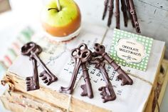 Chocolate keys at a Haunted Halloween Party! - Kara's Party Ideas - The Place for All Things Party #halloweenparty #chocolatekeys