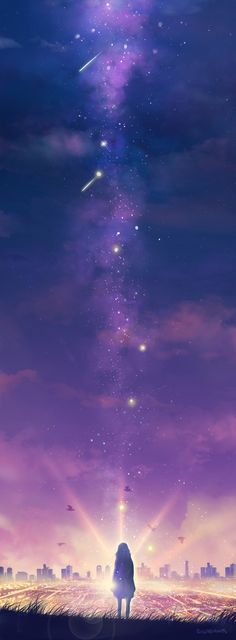 ✿ Anime scenery ✿ OMIGOSH SOOOO BEAUTIFUL (this is like the third time I wish anime world was real life) look at the sky look at the stars look at EVERYTHING!!!! ( ♡ᴗ♡ )