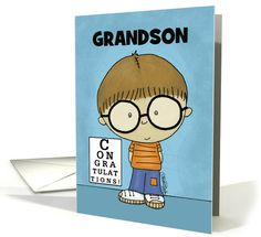Customize Congratulations Getting Glasses for Grandson by Christie Black Creations from the Heart #anycardimaginable
