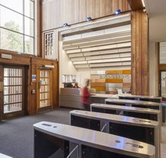 Significant refurbishment and interior design improvements at the University of Bristol's Faculty of Engineering Queen's Building Reception Desk Design, Timber Panelling, Entrance Design, Study Rooms, Refurbishment, Ceiling Lighting, Commercial Interiors, Receptions, Bristol