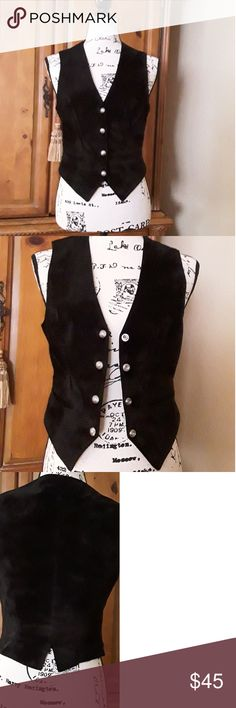 Black suade vest.  Size 6. Beautiful suade vest with awesome silver snaps!  Perfect condition! Very form fitting. Diamond Leathers Tops