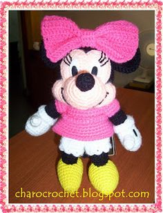 Crocheted Minnie Mouse - Disney characters are all the craze right now! If you're planning a trip to the most magical place ever, be sure you bring your new Minnie doll with you!