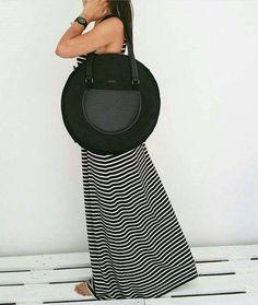 Handmade Black Round Felt Bag - Leather Shoulder Strap - Shoulder Bag - Zipper Bag - Front Pocket