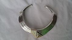 Vintage Beautiful Alexis Kirk Two Tone Modernist Hinged Choker/ Necklace - http://designerjewelrygalleria.com/alexis-kirk/vintage-beautiful-alexis-kirk-two-tone-modernist-hinged-choker-necklace/