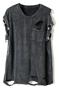 Studed Distressed Letters Claw Print T-shirt