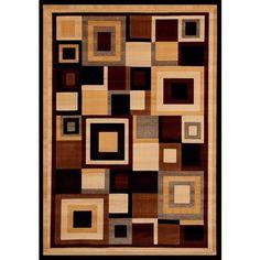 Greyson Living Neptune Tan/ Creme/ Black/ Burgandy Olefin Area Rug ($175) ❤ liked on Polyvore featuring home, rugs, brown, brown geometric rug, olefin rug, geometric area rugs, ivory rug and rectangular rugs