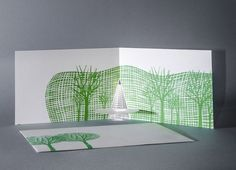 The National Art Center, Tokyo – a custom-made card for the museum. Porigami Laser-cut Popup Cards of Sights in Tokyo Prague City, Bathroom Installation, Paper Lampshade, National Art, New Year Card, Pop Up Cards, Porsche, Flora, Custom Design