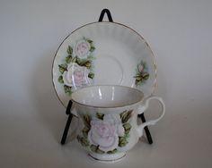 Vintage Tea Cup Hitkari Potteries White Rose Bone China Teacup and Saucer