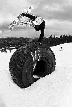 "Tire ""low five"" - snowboarding"
