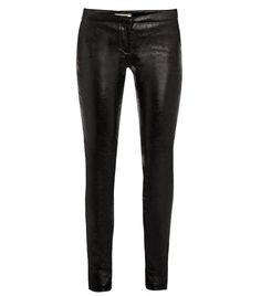 Leather leggings by L'agence. These metallic-black leather leggings have a mid-rise and skinny-leg with top hook and zipped front fastening. The fitted trousers have slanted side pockets and horizontal knee seams. 100% lambs suede. Backing: 97% cotton, 3% spandex. Lining: 100% cupro. Specialist leather clean. #Matchesfashion