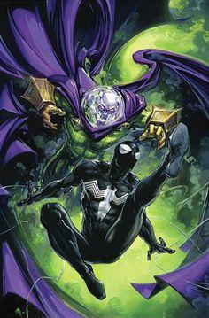 Spider-Man Vs Mysterio by Clayton Crain - Marvel Comics. Black Spiderman, Amazing Spiderman, Spiderman Kunst, Comics Anime, Marvel Comics Art, Marvel Vs, Marvel Heroes, Marvel Comic Books, Venom Comics