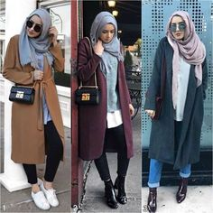 Enhance your personal style and boost your choices with more stylish and modest hijab items. In this hijabi collection you can see how to wear chic hijab Hijab Casual, Hijab Chic, Casual Winter Outfits, Hijab Outfit, Winter Fashion Outfits, Fashion Dresses, Ootd Hijab, Women's Casual, Modest Fashion