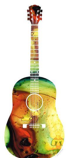 Acoustic Guitar - Colorful Abstract Musical Instrument