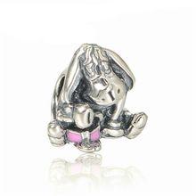 Convient Charms Pandora Bracelets et colliers nouveau 925 en argent Sterling bourriquet Charm avec rose foncé émail Charm perles bricolage bijoux(China (Mainland))