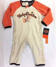 Harley Davidson Baby Size 6/9 Month Girls Knit Coverall Bodysuit Rouched Detail #HarleyDavidson #Everyday
