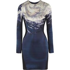 Dion Lee Printed silk and matte-satin dress (€405) ❤ liked on Polyvore featuring dresses, vestidos, navy, multicolor dress, navy dress, navy blue satin dress, navy blue silk dress and silk satin dress