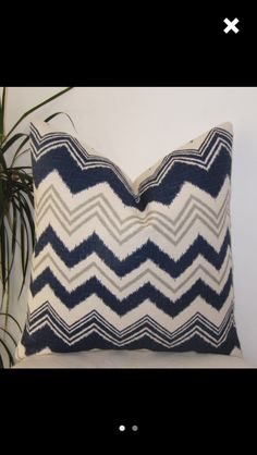 Navy and Ivory Decorative Pillow