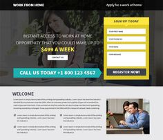 Responsive landing page design templates to improve your online presence and sharing your idea how to make money online by doing work from home