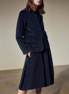 Navy cord blazer and A-line panelled skirt with block-heel shoes – all from Cos. Cos Jackets, Corduroy Blazer, Block Heel Shoes, Professional Women, White Women, Women Wear, Seasons, Black And White, Skirts