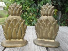 """Pair of Brass Pineapple Bookends-Vintage Solid BrassHome Decor - """"Andrea by Sadak"""" Made in Taiwan by SexyTrashVintage, $30.00"""