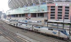 Amtrak Empire Builder arriving at King Street Station in Seattle, Washington.