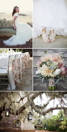 Peach, cream and dusky green are perfect vintage wedding colors. Hanging lamps will also give a vintage, fairy tale feel to your outdoor wedding. Chic Wedding, Perfect Wedding, Rustic Wedding, Our Wedding, Dream Wedding, Wedding Stuff, Whimsical Wedding, Garden Wedding, Wedding Themes