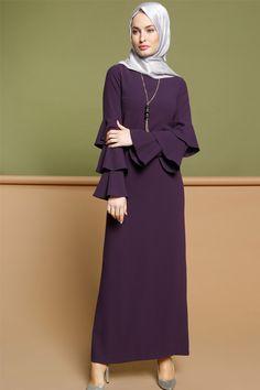 Puane Dark Purple Dress with Necklace Abaya Fashion, Modest Fashion, Fashion Dresses, Muslim Women Fashion, Islamic Fashion, Hijab Style Dress, Abaya Designs, Muslim Dress, Designs For Dresses