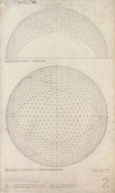 Buckminster Fuller, Architectural drawing of a Geodesic Hanger, 1951
