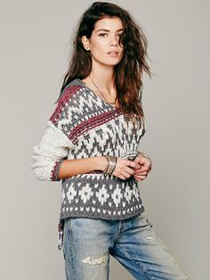 Free People Fairisle Hooded Pullover, $148.00
