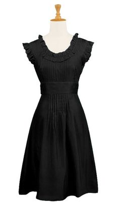 Details: Gorgeous ruffles finish a soft cotton dress with a series of pleats lending fullness to the skirt.  Side zip. Inset waist. Knee length. Unlined Poplin - 100% Cotton, woven, no stretch, mid-weight. Machine wash dark colors separately.