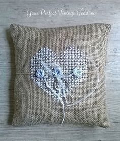 Rustic Burlap Ring Bearer Pillow - collection of wedding decorations, including vintage-inspired wedding reception decor.