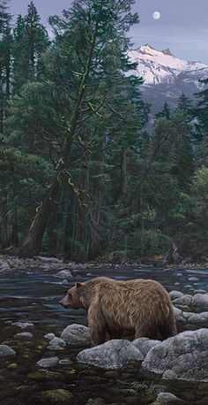 """Moonbear Listens to the Earth.... Stephen Lyman.... ANNIVERSARY EDITION CANVAS Image size: 11""""w x 21""""h.  Edition Size:200"""