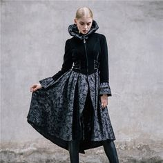 Winter Palace Women Flare Long Sleeve Black Skirt Jackets