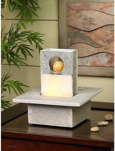 Portola Slate Table Fountain Home Indoor Water Stone Led Electric Desk Decor New