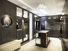 His Closet - The walk-in dressing room is lined with bespoke built in cupboards