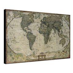 Gedrukt Art Vintage Linen Kaart van de Wereld 1212-0149 - EUR € 61.87