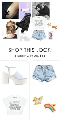 """""""MY UNICORN"""" by diferentprincess ❤ liked on Polyvore featuring Nly Shoes, Yellow Owl Workshop, Miss Selfridge, black, rainbow and unicorn"""