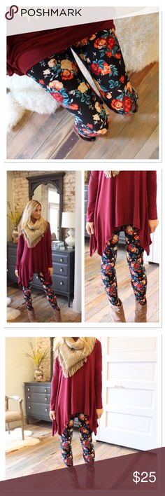 Rose Floral print leggings plus size Coming soon. Preorder now will ship Wednesday. Plus size fits 12-18. Soft brush knit leggings are amazingly comfortable! 92 % polyester, 8 % spandex. Have the look and feel of Lularoe leggings. Not sheer or see through. Similar to LuLaRoe TC.       NOT LULAROE!!! Infinity Raine Pants Leggings