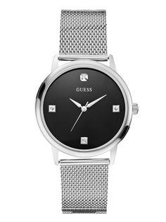 Silver-Tone Mesh Diamond Watch at Guess 09f46f626